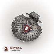 Filigree Shell Dish Enamel Crest Plaque Spanish 916 Standard Silver 1910