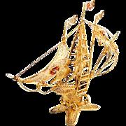 Filigree Gilt Small Caravel Ship Figure Enamel Accents Portuguese 833 Silver 1960