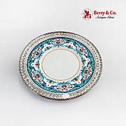 Sheraton Style Dinner Plate Minton 1900 Wide Ornate Cut Work Rim Sterling Silver