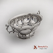 Dutch Oval Footed Brandy Bowl Figural Handles Sterling Silver 1925