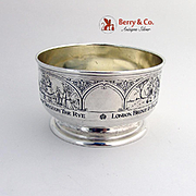 Engraved Nursery Rhyme Baby Bowl Gilt Interior W B Kerr Sterling Silver