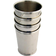 Banded Mint Julep Cups Beakers Set Gorham Sterling Silver No Mono