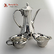 Tiffany Co Blackberry After Dinner Coffee Set 3 Piece Sterling Silver 1902 Mono