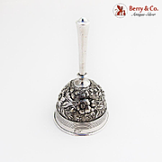 Antique Floral Repousse Dinner Bell Coin Silver 1870 Monogram