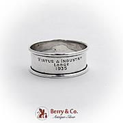 English Narrow Napkin Ring Sterling Silver 1935 Birmingham