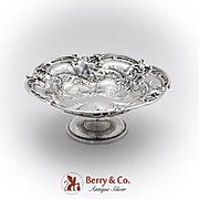 Les Six Fleurs Candy Dish Pedestal Base Reed Barton Sterling Silver 1950