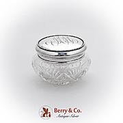 Art Nouveau Cut Crystal Dresser Jar Beaded Lid Wallace Sterling Silver 1900
