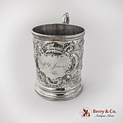 Repousse Floral Shell Scroll Childs Cup Tifft Whiting Coin Silver 1850