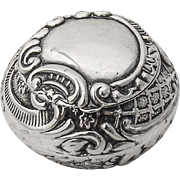 Repousse Floral Scroll Pill Box Gilt Interior Hinged Lid Sterling Silver