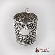 Antique Floral Repousse Cup Mug Silvester Hogan Sterling Silver 1880