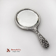 Repousse Floral Hand Mirror Gorham Sterling Silver 1896 Monogram