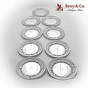 Openwork Wreath Medallion Bread Plates Set Gorham Durgin Sterling Silver 1930
