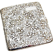 Chased Engraved Foliate Cigarette Case Japanese 950 Sterling Silver 1960