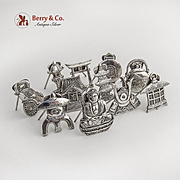 Japanese Figural Place Card Holders Set 950 Sterling Silver 1950