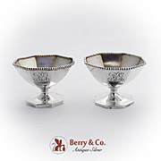 Beaded Octagonal Pedestal Master Open Salts Pair Gilt Interior Sterling Silver 1890