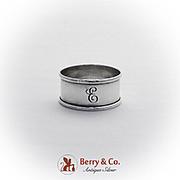 Vintage Circular Napkin Ring Webster Co Sterling Silver 1930 Monogram
