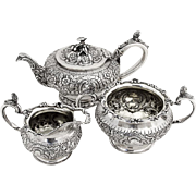 Antique Repousse Ornate 3 Piece Tea Set Figural Decorations Sterling Silver London