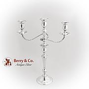 Vintage Three Light Candelabrum Convertible International Sterling Silver 1940