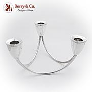 Art Moderne Triple Candle Holder Duchin Sterling Silver 1950