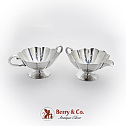 Vintage Creamer Sugar Bowl Set Fluted Bodies International Sterling Silver 1940