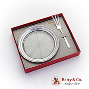 Vintage Cut Glass Lemon Dish Lemon Fork Boxed Set National Silver Sterling Silver