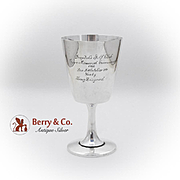 Tiffany Co Golf Tournament Trophy Goblet Applied Crest Sterling Silver