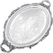 Baroque Engraved Oval Tray Figural Feet Handles Wallace Silverplate
