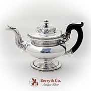 Foliate Beaded Teapot Wooden Handle Acorn Finial J Curry Coin Silver 1825
