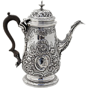 George IV Repousse Ornate Tall Coffee Pot Wooden Handle Sterling Silver 1827 London