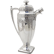 Art Nouveau Large Ornate Cocktail Shaker Silverplate 1910 Monogram