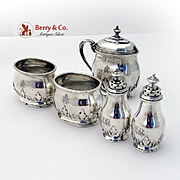 Ornate Foliate Open Salts Shakers Mustard Pot Set Sterling Silver Monogram