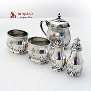 Ornate Foliate Open Salts Shakers Mustard Pot Set Sterling Silver Monogram