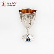Engraved Floral Goblet Gilt Interior W K Vanderslice Co Coin Silver 1863