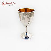 Engraved Floral Goblet Gilt Interior W K Vanderslice Co Coin Silver 1863