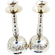 Repousse Mexican Rose Candlesticks Pair Plateria Alameda Sterling Silver