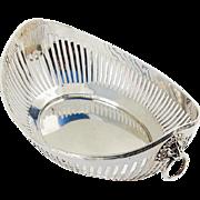 Vintage Dutch Silver Openwork Bread Basket Lion Masks