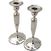 Colonial Revival Candlesticks Pair Bobeche Cups Marcus Co Sterling Silver 1920 NYC