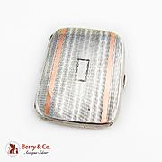 Art Deco Cigarette Case 14K Gold Decorations Sterling Silver