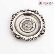 Baroque Scroll Dish Coin Centerpiece Sterling Silver 1897 Peru