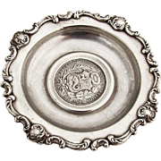 Baroque Scroll Dish Coin Centerpiece Sterling Silver 1897 Peru