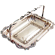 Sheraton Style Repousse Basket Swing Handle Silverplate 1900