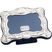 English Foliate Scroll Picture Frame Easel Back Sterling Silver Sheffield Boxed