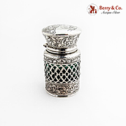English Crystal Scent Bottle Engraved Openwork Sterling Silver Case 1910 Birmingham