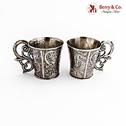 Engraved Shot Cups Pair Scroll Handles Spanish Colonial Silver 1850