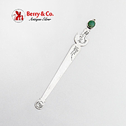 Engraved Rabbit Bookmark Jade Cabochon Finial Sterling Silver 1930