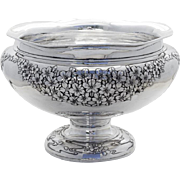 Dogwood Blossom Footed Punch Bowl Japanese 990 Sterling Silver 1910