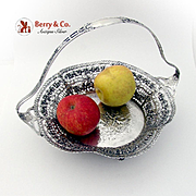 Ornate Openwork Cake Basket Courting Scene Shreve Co Sterling Silver Germany