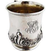 Repousse Floral Scroll Childs Cup Gilt Interior Reed Barton Sterling Silver 1910