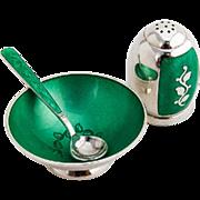 Foliate Green Enamel Salt Dish Spoon Shaker Set Danish Sterling Silver 1950