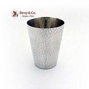 Vintage Large Hammered Shot Cup Toyokoki 950 Sterling Silver